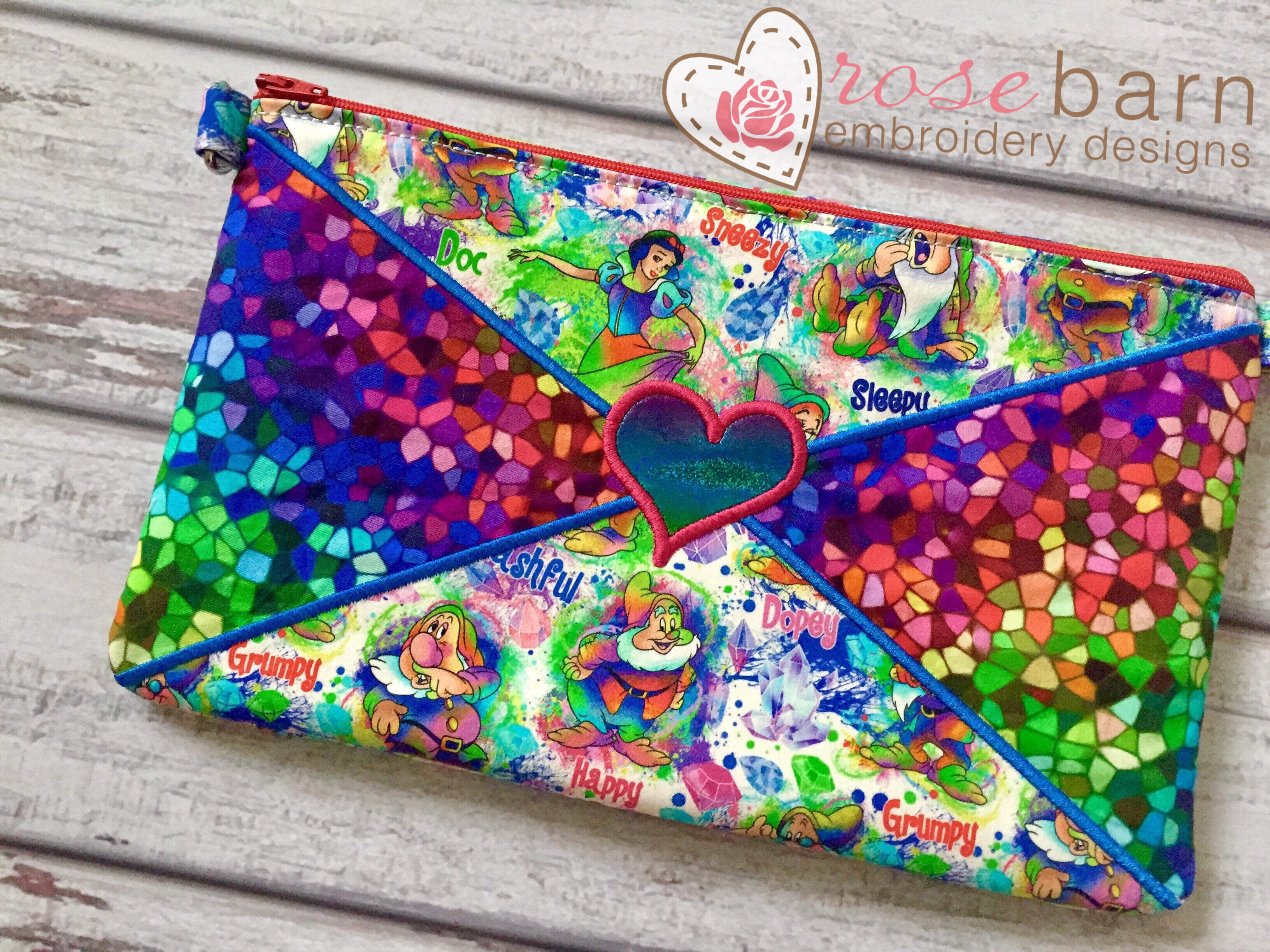 Heart Letter Clutch Zipper Bag