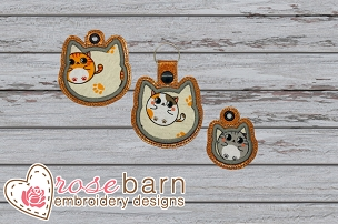 Cat Head Applique key Fob