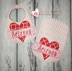 Heart Bib and Burp Cloth Set (8x12 only)