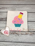 Pencil Cupcake Applique