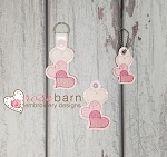 Stacked Hearts Key Fob