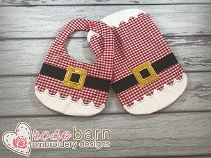 Santa Bib and Burp Cloth Set - 8x12