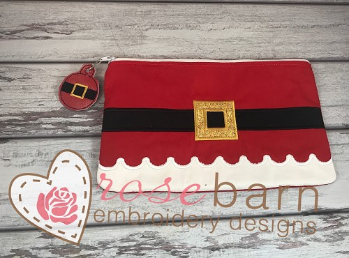 Santa Belt Zipper  Clutch Bag